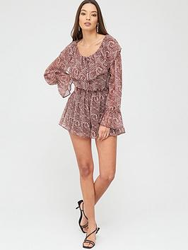 River Island River Island River Island Animal Print Ruffle Playsuit Picture