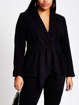 RI Plus Ri Plus Belted Blazer Jacket - Black Picture