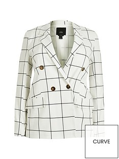 ri-plus-ri-plus-check-double-breasted-blazer-white