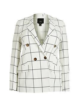 RI Plus Ri Plus Check Double Breasted Blazer - White Picture