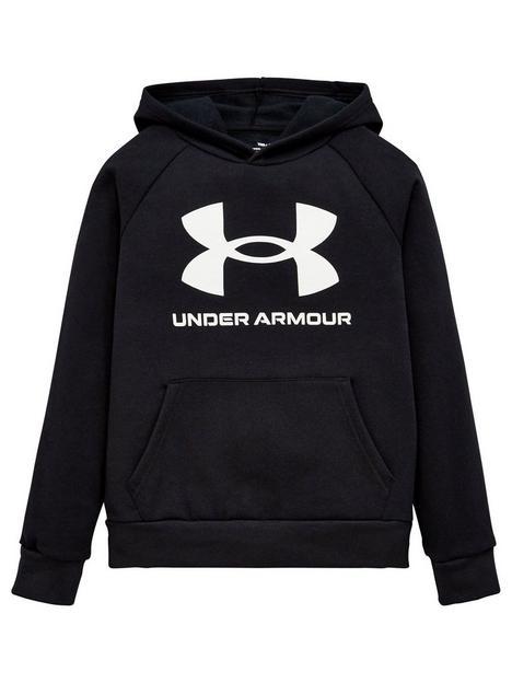 under-armour-childrensnbsprival-fleece-hoodie-blackwhite