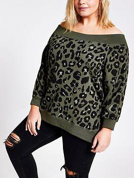 RI Plus Ri Plus Leopard Print Bardot Sweater - Khaki Picture
