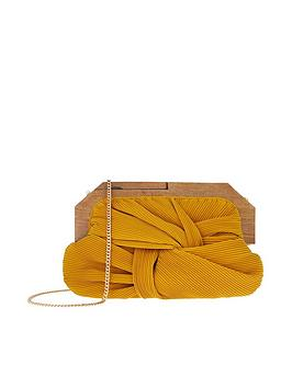 Accessorize   Brooke Pleated Frame Clutch - Yellow