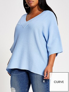 ri-plus-v-neck-knitted-top