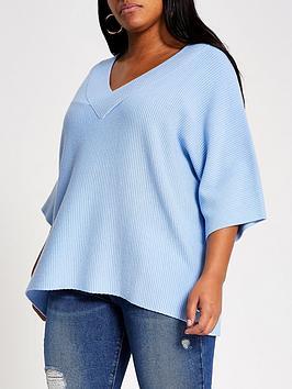 RI Plus Ri Plus V-Neck Knitted Top - Blue Picture