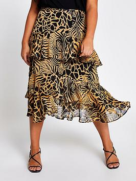 RI Plus Ri Plus Animal Print Chiffon Tiered Midi Skirt - Brown Picture