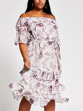 RI Plus Ri Plus Floral Bardot Ruffle Midi Dress - Pink Picture