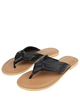 Accessorize   Knotted Thong Sandals - Black
