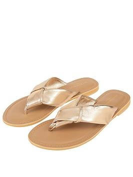 Accessorize  Knotted Thong Sandals - Gold