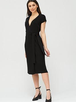 V by Very V By Very Wrap Belted Knitted Dress - Black Picture