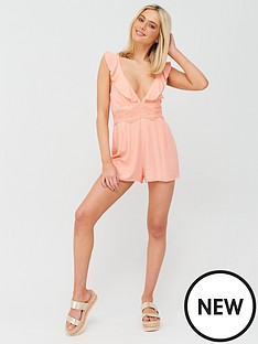 river-island-river-island-plunge-lace-insert-beach-playsuit-pink