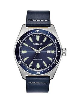 Citizen Citizen Citizen Eco Drive Blue Leather Strap Blue Dial Watch Picture