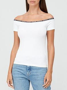 calvin-klein-jeans-logo-trim-bardot-top-white