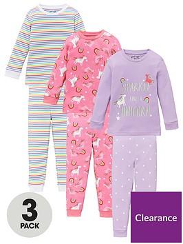 v-by-very-girls-3-pack-unicorn-and-stripenbspsnuggle-fit-pyjama-set-multi