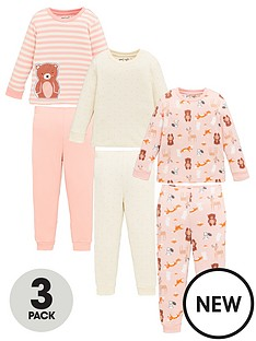 v-by-very-girls-3-pack-teddy-and-stripe-snuggle-fit-pyjama-set-multi