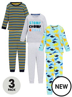 v-by-very-boys-3-pack-dinosaur-and-stripe-snuggle-fit-pyjama-set-multi