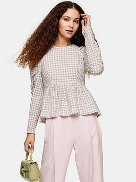 Topshop Topshop Gather Sleeve Gingham Top - Lilac Picture