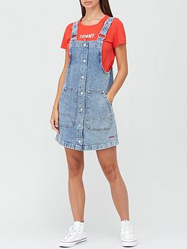 tommy-jeans-short-dungaree-snap-dress-blue