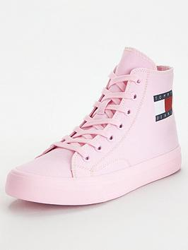 tommy-jeans-mid-cut-lace-up-vulcanised-shoes-pink