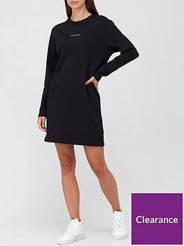 calvin-klein-3d-metallic-logo-dress-black