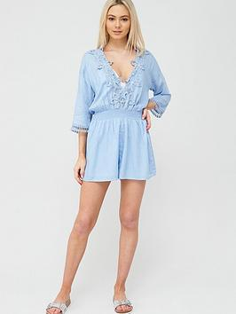 River Island River Island River Island Floral Applique Beach Playsuit -  ... Picture