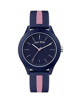 Jack Wills Jack Wills Unisex Blue Dial Blue And Pink Strip Strap Watch Picture
