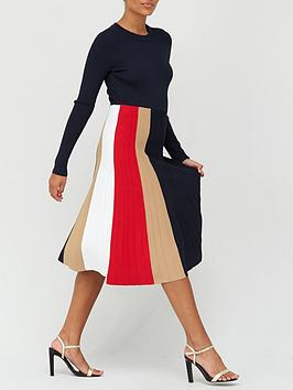 tommy-hilfiger-icon-pleated-crew-neck-dress-navy