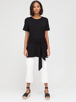 V by Very V By Very Tie Waist Tunic Top - Black Picture