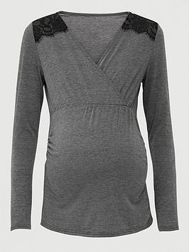 V by Very V By Very Maternity Wrap Nursing Top With Lace Trim - Grey Picture