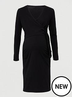 v-by-very-maternity-tie-wrap-dress-black