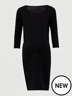 v-by-very-maternity-double-layer-dress-black
