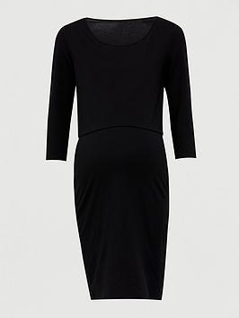 V by Very V By Very Maternity Double Layer Nursing Dress &Ndash; Black Picture