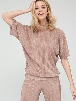 V by Very V By Very Plisse High Neck Top - Camel Picture