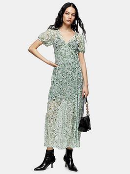 Topshop Topshop Daisy Mesh Midi Dress - Green Picture