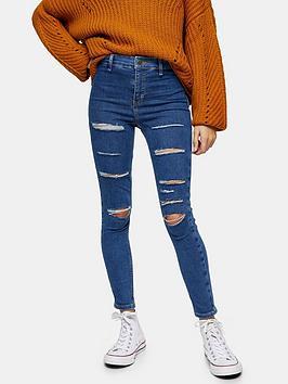 Topshop Topshop Petite Super Rip Joni Jeans - Blue Picture