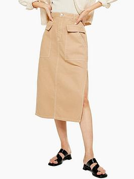 Topshop Topshop Pocket Midi Skirt - Sand Picture