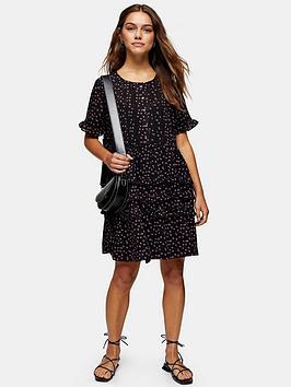 Topshop Topshop Topshop Petite Ditsy Ladder Trim Mini Dress - Black Picture