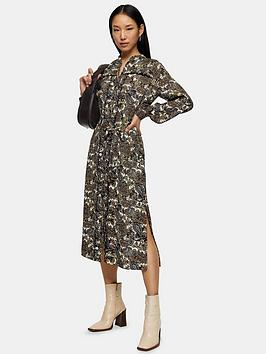 Topshop Topshop Tall Paisley Ruffle Midi Shirt Dress - Multi Picture