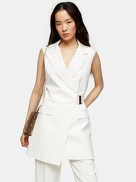 Topshop Topshop Sleeveless Belted Blazer - Ivory Picture