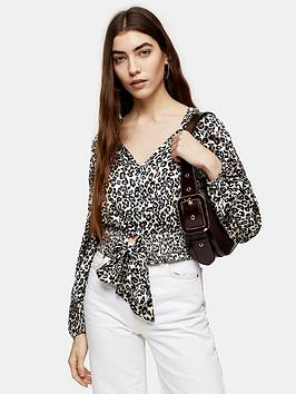 Topshop Topshop Topshop Animal Shirred Tie Front Blouse - Nude Picture