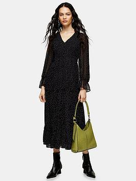 Topshop Topshop Shirred Chuckon Midi Dress - Mono Picture