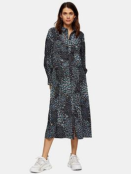Topshop Topshop Ruched Waist Midi Shirtdress - Black Picture
