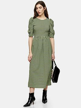 Topshop Topshop Gingham Puff Sleeve Midi Dress - Green Picture