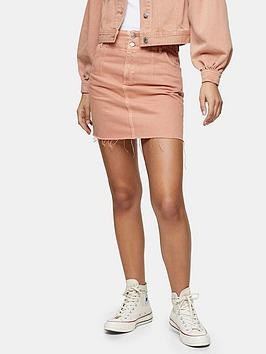Topshop Topshop Dart Seam Denim Mini Skirt - Apricot Picture
