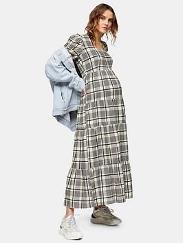 Topshop Topshop Topshop Maternity Check Tiered Sqaure Neck Midi Smock  ... Picture