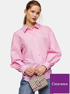 topshop-poplin-ruched-back-blouse-pink