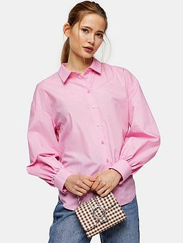 Topshop Topshop Poplin Ruched Back Blouse - Pink Picture