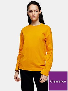 topshop-boutique-elbow-slash-t-shirt-orange