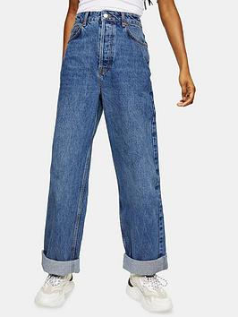 Topshop Topshop Petite Oversized Mom Jeans - Blue Picture
