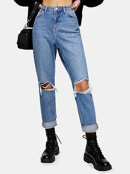 Topshop Topshop Petite Double Rip Mom Jeans - Blue Picture
